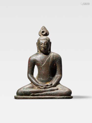 A COPPER ALLOY FIGURE OF BUDDHA  SRI LANKA, LATE ANURADHAPURA PERIOD, 9TH/10TH CENTURY