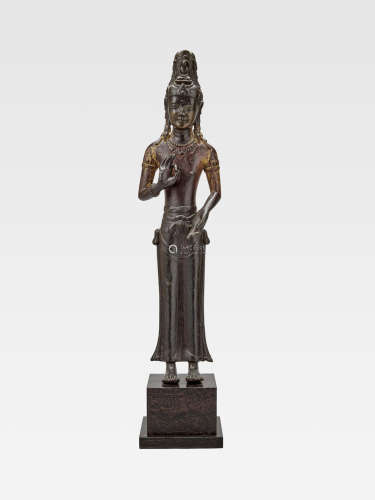 A LACQUERED COPPER ALLOY FIGURE OF ACUOYE GUANYIN  YUNNAN, DALI KINGDOM, 12TH CENTURY