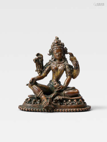 A GILT COPPER FIGURE OF VASUDHARA  NEPAL, 15TH/16TH CENTURY