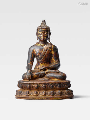 A GILT COPPER ALLOY FIGURE OF BUDDHA  YUAN PERIOD (1279-1368)