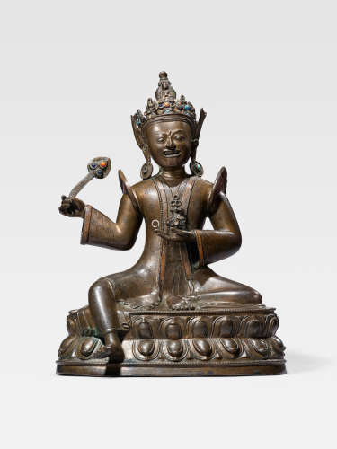 A COPPER INLAID COPPER ALLOY FIGURE OF SHANGLON DORJE DUDUL MAHAKALA  TIBET, CIRCA 15TH CENTURY