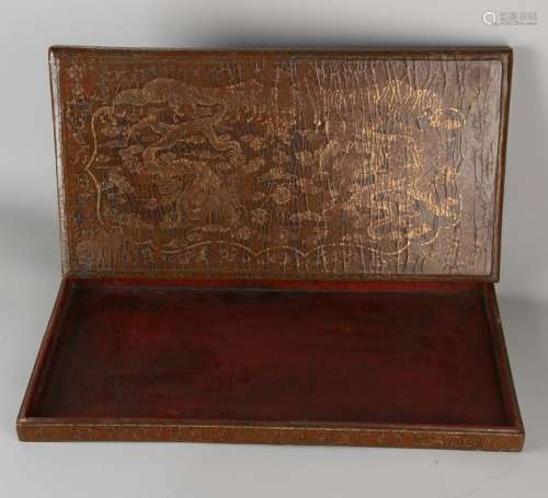 Large antique Chinese lacquer lid box with golden