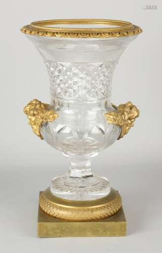 Large 19th century three-part crystal glass crater vase