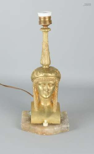 Empire-style gilt bronze table lamp with alabaster