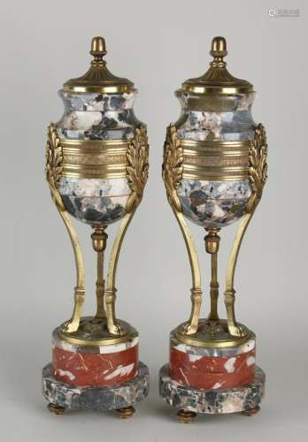 Two antique gilt bronze with marble cassolettes in