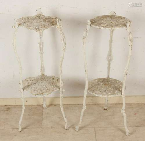 Two cast iron (garden) side tables. 20th century.