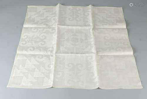 MC Escher design. Damask napkin with sea horses and