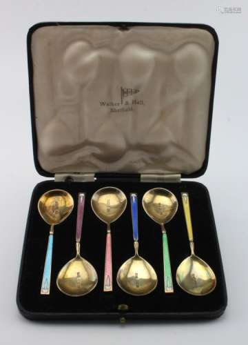 Boxed set of six silver & enamel teaspoons by Walker & Hall hallmarked for Birmingham, 1937.