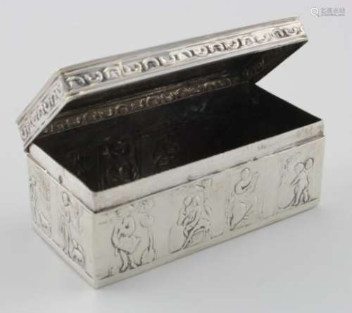 Dutch silver trinket box bears Dutch 2nd standard hallmarks for 1890 (possibly Amsterdam). Shows