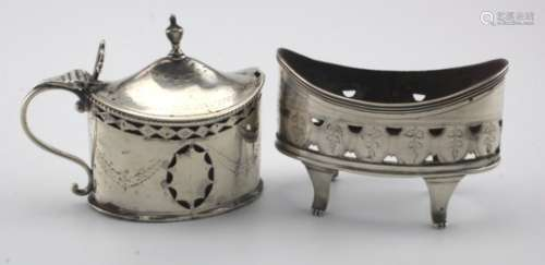 George III silver mustard pot and salt, the salt is missing it's liner. Makers marks are rubbed