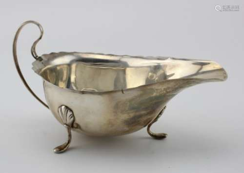 Large silver sauceboat (tiny repair to split on edge and possible repair to handle) hallmarked