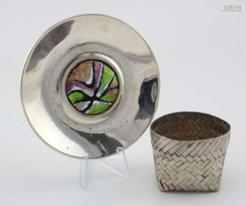 Mexico silver sterling basket and a Spanish silver & enamel .915 grade dish. The dish was made in