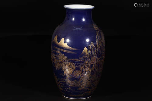QIANLONG MARK BLUE GLAZE VASE