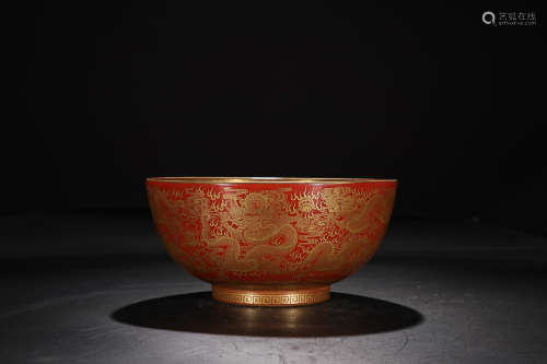 QIANLONG MARK IRON RED BOWL