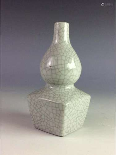 Chinese crackled glaze square double gourd bottle vase