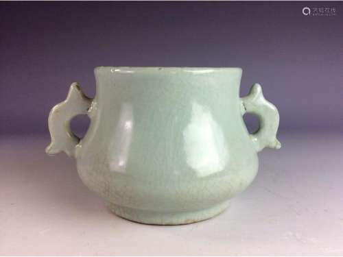Chinese celadon crackled glazed censer with twin ears