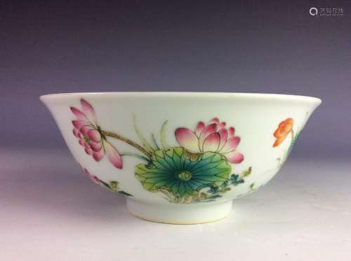 Chinese bowl with lily pond marked on base