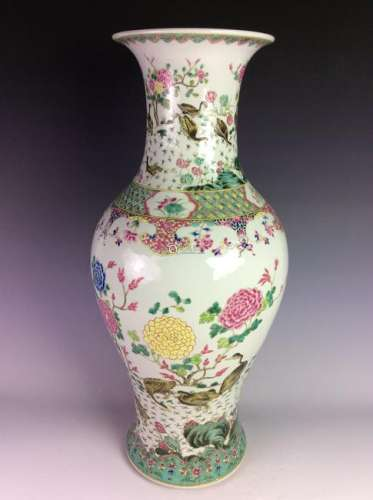 Chinese vase with flowers and ducks.