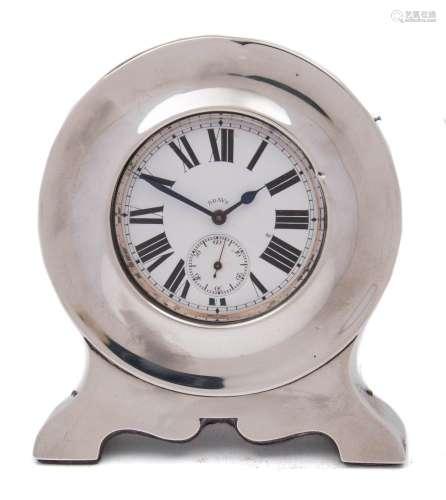 An Edward VII silver watch holder, maker's mark worn, Chester,