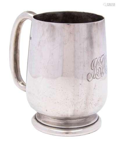 A George V silver mug, maker Barker Brothers Silver Ltd, Birmingham, 1929: initialled,