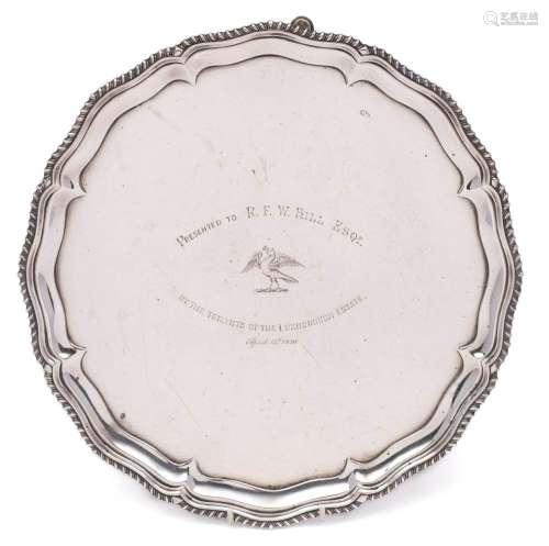 A Victorian silver presentation salver, maker Hawksworth, Eyre & Co Ltd, London, 1897: inscribed,
