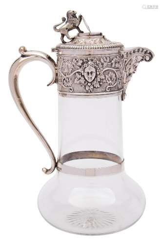 A George V clear glass and silver mounted claret jug, maker John Grinsell & Sons, London,