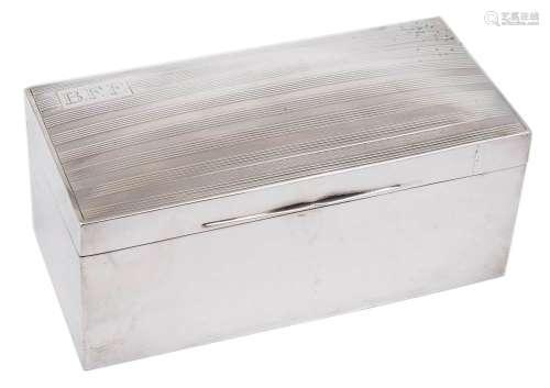 An Edward VII silver cigar box, maker Mappin & Webb, London, 1903: initialled,
