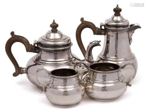 A George VI silver four-piece tea service, maker C Shapland & Co, London,