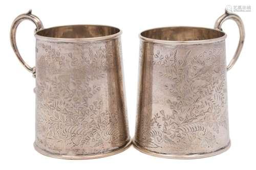A pair of George V Silver christening mugs, maker John Round A Son Ltd, Sheffield,