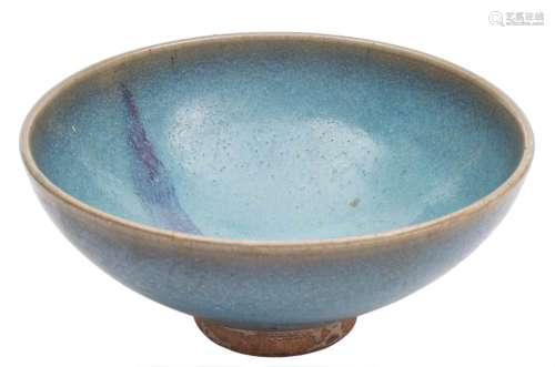 A Chinese Junyao purple-splashed bowl: of circular form and covered with a thick mottled