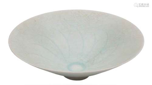 A Chinese Qingbai porcelain bowl: of flared conical form, covered in a crackled pale celadon glaze,