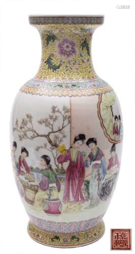 A Chinese famille rose vase: of ovoid form with waisted neck,