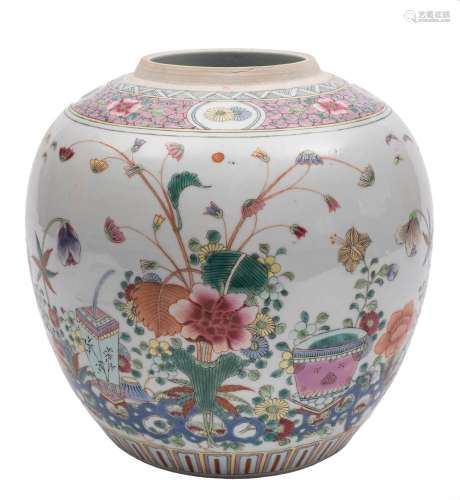 A Chinese famille rose ginger jar: painted with a jardiniere and a vase amongst floral sprays and