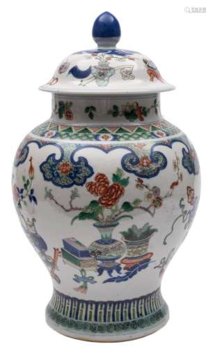 A Chinese famille verte baluster vase and cover: painted overall with auspicious objects between