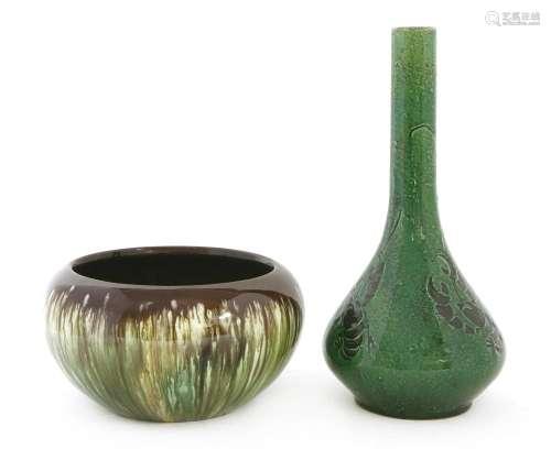 A green pottery vase,