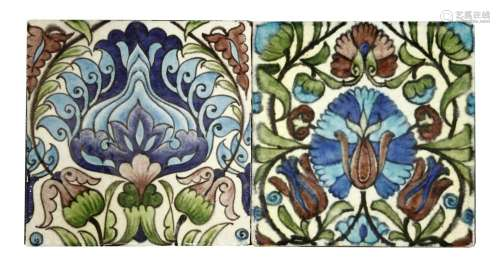 Two William De Morgan tiles,