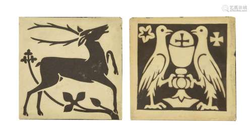 Two pottery encaustic tiles,