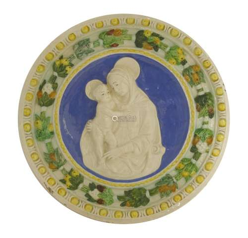 A Della Robbia pottery Madonna and Child tondo,