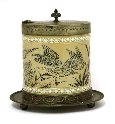A Doulton Lambeth biscuit barrel,