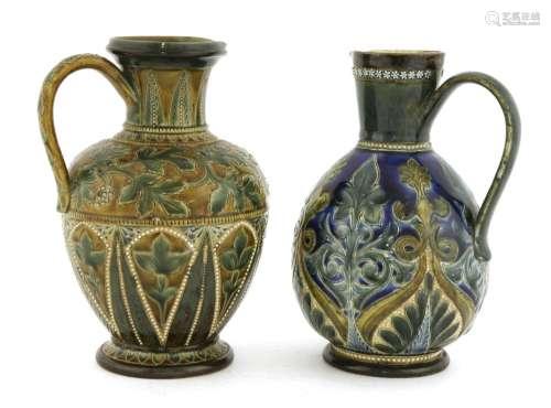 Two Doulton Lambeth stoneware ewers,