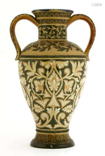 A Doulton Lambeth stoneware twin-handled vase,