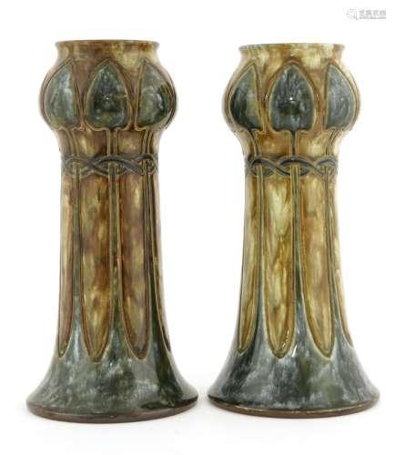 A pair of Royal Doulton stoneware vases,