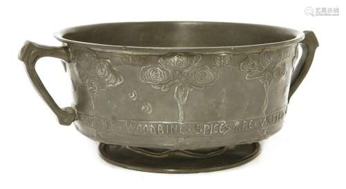 A Tudric pewter twin-handled bowl,