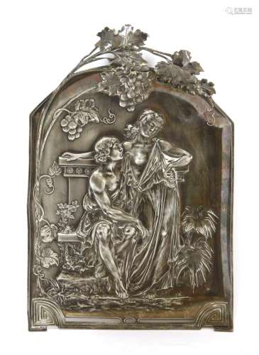 A WMF pewter wall plaque,