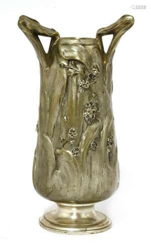 An Art Nouveau silvered bronze vase,