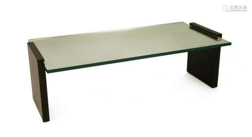 A calamander mirrored glass coffee table,