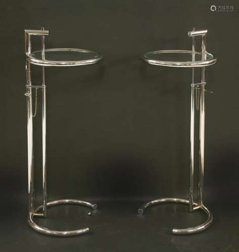 A pair of Eileen Gray-style adjustable lamp tables,