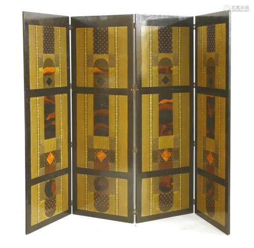 An Art Deco-style four-fold dressing screen,