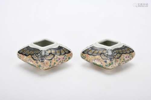 Chinese Pair Of Qing Dynasty Guangxu Guan Kiln Enamel