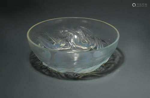 Ondines, an R. Lalique opalescent glass bowl,
